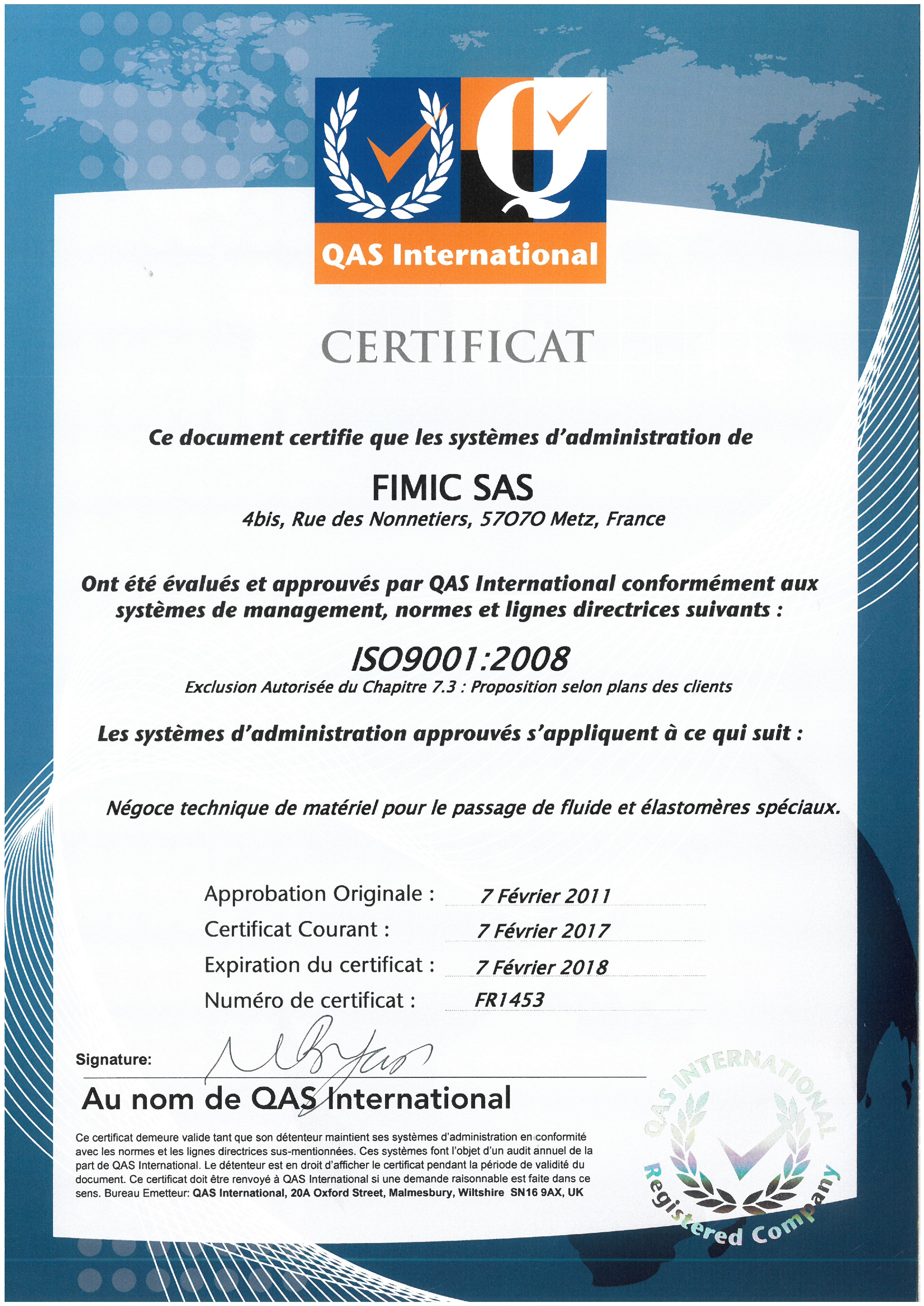 CERTIFICATION ISO 9001 FIMIC SAS